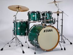 Limited Edition Tama Silverstar Drums with Tamo Ash: Satin Green Tamo Ash  close to my set if you add another bass tom and two more cymbals   :)   Mary