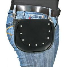 New* Studded Hip Bag-Black Leather with Detachable Leather Stap