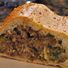 Brandon's Stuffed Bread Recipe Loaf Recipes, Casserole Recipes, Cooking Recipes, Sandwich Recipes, French Loaf, Smoked Sausage Recipes, Sausage Bread, Thing 1, Pizza