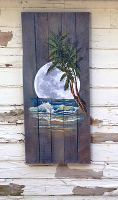Wood Pallet Sign - Ocean night with Palm Tree and Moon optional last name by PalletPerspective on Etsy https://www.etsy.com/listing/236977685/wood-pallet-sign-ocean-night-with-palm