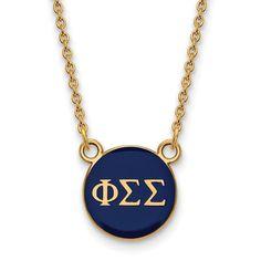 Sterling Silver w/GP LogoArt Phi Sigma Sigma XS Enl Pend w/Necklace