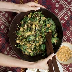 Food & Wine's healthy version of Caesar salad is made with avocado, kale and brussels sprouts.#vegan