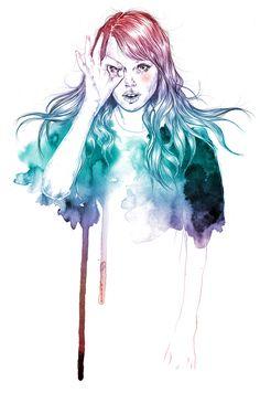 art, beautiful girl, blue, color, drawing, esra roise
