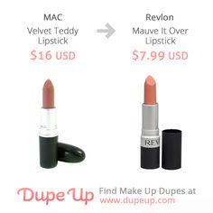 MAC Velvet teddy dupe Mac Lipstick Dupes, Matte Lipstick, Mac Velvet Teddy Dupe, Make Up Dupes, Revlon, Mauve, Makeup Tips, Swatch, Makeup Looks