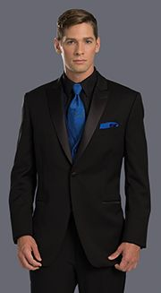 prom slim fit black tuxedo with black shirt royal blue tie