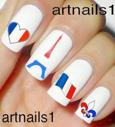 France Paris Heart Flag Red white Blue Eiffel Tower by artnails1