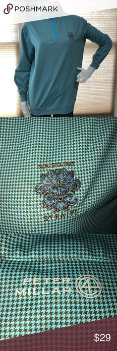 Men's Peter Millar 4 Wicking 1/4 Zip Pullover Lightly worn, in great condition. Great teal, and drake gray houndstooth print. Peter Millar Jackets & Coats Performance Jackets