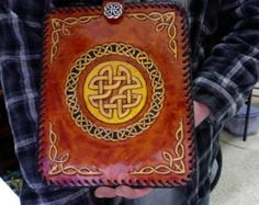 I Pad Case / Leather / I Pad Air / Nordic / Men / Women / Boy / Girl / Custom / Norse /  Hand Carved and Tooled / Hand Made / Cover / Woman