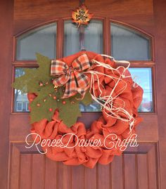 A personal favorite from my Etsy shop https://www.etsy.com/listing/473651934/fall-wreath-pumpkin-wreath-orange-burlap