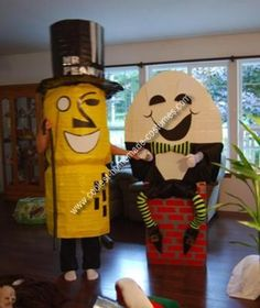 Homemade Mr. Peanut and Humpty Dumpty Costumes: With mr peanut I started gathering fencing and tried to make two nut shells out of the fencing by bending and tying the wires together. Same with the hat.