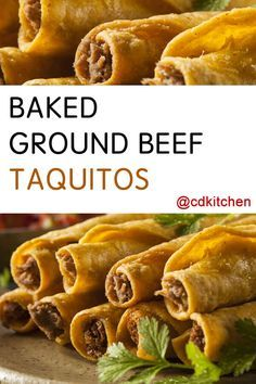 These tasty rolled tacos are filled with spicy ground beef and creamy cheese. Bonus: they are baked instead of fried so they are lighter on calories than the usual restaurant versions. | CDKitchen.com
