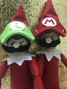 These Adorable handmade super Mario costume accessories will be a hit with your elf on the shelf. These are made out of felt and cardboard and have an elastic band that is fitted for a elf on the shelf. It could be purchased as a set or individually . Each character comes with two
