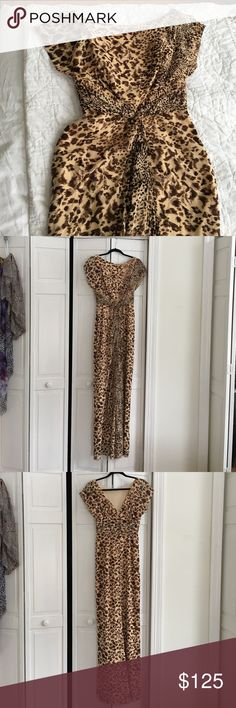 Badgley Mischka animal print gown Long silk gown with v-back and cap sleeves, beautiful draping Badgley Mischka Dresses Maxi