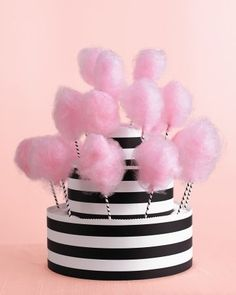 Cotton-Candy Stand - A late-night cotton-candy treat doubles as chic wedding decor when displayed in a black-and-white striped cake stand.