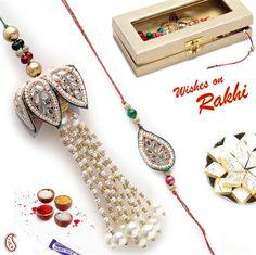 Picture of Lotus design Bhaiya and Bhabhi Rakhi Set with Kundans and Pearls