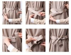 how to tie a trench coat in the back.