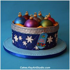 Box with Christmas Ornaments Cake, via Flickr.
