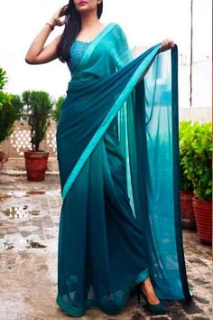 Sea Blue Colored Beautiful Pure Silk Touch Original Fabric Designer Saree With Blouse - Mfab05