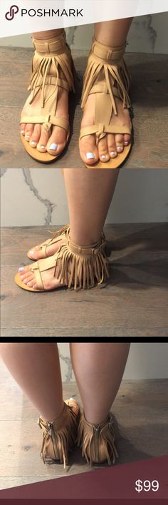 Loeffler Randall leather fringe sandals Super cute Loeffler Randall fringe leather sandals in natural leather color.  Size 6.  Too small for me.  Worn 3 times so in great condition.  No wearing on the sole.  Size 6/36. Loeffler Randall Shoes Sandals