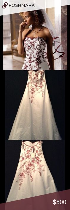 "David's Bridal Wedding Dress White Red Lace Size 8 3 pieces all NWT!!! Rare, discontinued hard to find as a complete set! David's Bridal style T8763R in white with red floral detailing. It has pearl beading and Swarovski Crystals. Includes the matching double tiered floral veil in the package, and petticoat. Retail value was approximately $800.00 + for all. The dress is a street size 8. Absolutely stunning in person!  The measurements are:  Bust (armpit seam to seam) 18"" Waist 30"" Front…"