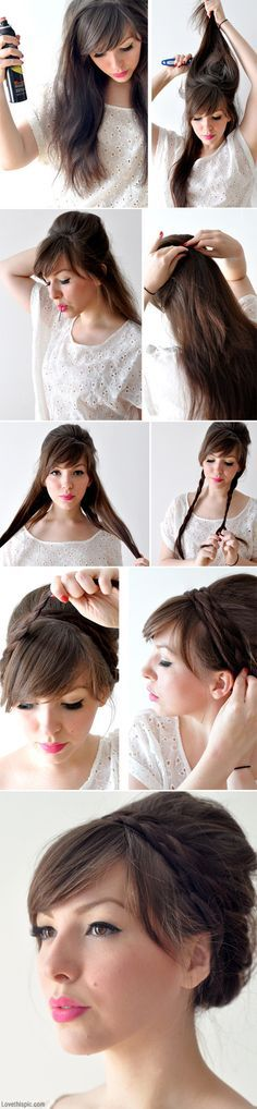 Classy updo with a wrapped braid. Looks great with the bangs. #hair #tutorial