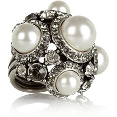 Lanvin Glass pearl and crystal ring ($675) ❤ liked on Polyvore