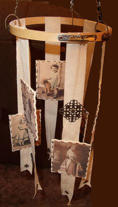 Vintage photo mobile - using TAP Transfer Artist Paper to transfer photos to felt - by Shirley Rufener