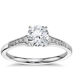 Petite Milgrain Diamond Engagement Ring in 14k White Gold