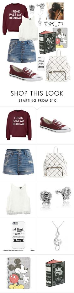"""Untitled #361"" by jollyme ❤ liked on Polyvore featuring Converse, Pieces, Kate Spade, Wet Seal, Disney and Topshop"