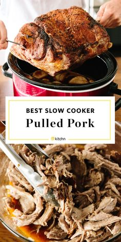 Best EASY Crockpot Pulled Pork Butt or Shoulder. Need recipes and ideas for meals and dinners to make for a crowd? This is excellent and budget friendly for work potlucks, reunions, graduation parties, or outdoor bbqs. Cook up a big batch in your crock pot or slow cooker. Excellent for meal preppers or planners who want proteins to pack for lunches!