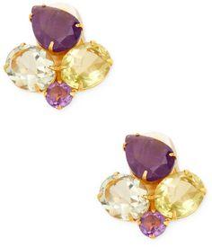 Bounkit Women's Amethyst & Quartz Cluster Stud Earrings