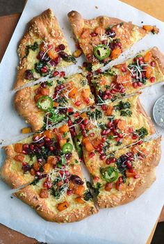 Butternut Squash and Kale Pizza with Pomegranate Salsa