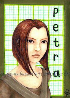 'Petra Hale' ACEO, Printed fictional portrait plus Col-erase pencils and Prismacolour pens on Entrada Rag Bright paper
