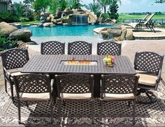 e94cf20981e Nassau 42x84 Rectangle Outdoor Patio 9pc Dining Set for 8 Person with Rectangle  Fire Table Series