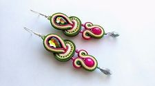 Colorful green pink soutache earrings handmade