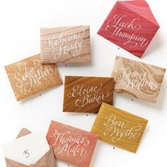 Turn these mesmerizing marble patterns into escort-card envelopes, then ask a calligrapher to gussy them up with script.
