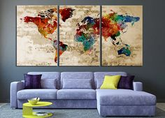 Art Canvas, World Map Art Print, Map Art Print, World Map Print Canvas Art Print, Extra Large Retro World Map Print