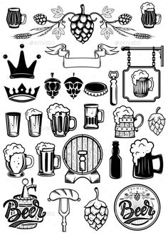 Set of Design Elements for Beer Labels. Beer Mugs - Food ObjectsYou can find Beer labels and more on our website.Set of Design Elements for Beer Labels. Beer Mugs - Food Objects Craft Beer Labels, Craft Beer Gifts, Food Labels, Wine Labels, Beer Tattoo, Craft Beer Wedding, Tatuagem Old Scholl, Beer Label Design, Beer Logo Design