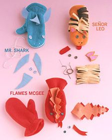 Monster Mittens - Martha Stewart  Super cute idea - love the shark!
