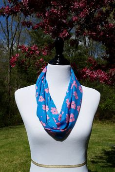 Blue Infinity Scarf With Pink Flowers