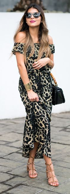 ASOS Off-the-Shoulder Dress  | Gucci Bag | ASOS Sunglasses | Valentino Sandals | Lips: CHANEL Rouge Allure – La Diva
