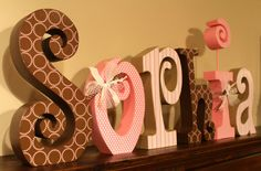 Nursery Decor Personalized Wooden Letters for Baby Girl. $80.00, via Etsy.