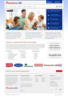 Precision Air HVAC custom #webdesign on #Joomla 2.5. A clean and corporate theme for local heating and cooling company in North Alabama.