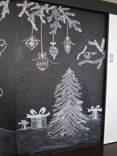 "Ornament Illustration Inspiration: ""Christmas Table Art: A New Tradition . - Ornament Illustration Inspiration: ""Christmas Table Art: A New Tradition Chalkboard Writing, Chalkboard Drawings, Chalkboard Lettering, Chalkboard Designs, Chalk Drawings, Diy Chalkboard, Illustration Inspiration, Illustration Noel, Christmas Illustration"