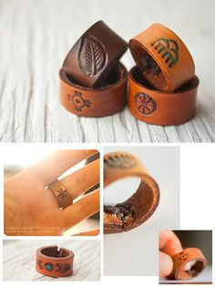 Custom Leather ring Choose symbol and color Unis. - Custom Leather ring Choose symbol and color Unis. Leather Art, Custom Leather, Leather Cuffs, Leather Design, Leather Tooling, Leather Jewelry, Leather And Lace, Leather Wallet, Diy Leather Rings