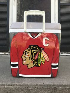 Painted Fraternity Coolers, Frat Coolers, Chicago Blackhawks, Blackhawks Hockey, Formal Cooler Ideas, Total Frat Move, Cooler Painting, Art Auction, Banquet