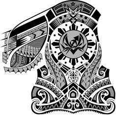 Polynesian Chest Half Sleeve Tattoo Design. Designer: Andrija Protic
