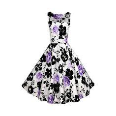 Rotita Black and Purple Flower Print Sleeveless Dress ($25) ❤ liked on Polyvore featuring dresses, white, vintage white dress, white midi dress, black dress, floral print dress y vintage dresses