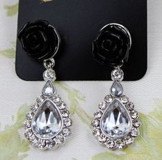 Brand black flowers flower earrings Rhinestones texture DC7E501 $1.75