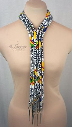 Kente Neck Tie Necklace Ankara Necklace by ETurnerCouture on Etsy Diy African Jewelry, African Accessories, African Necklace, Fashion Accessories, African Attire, African Wear, African Dress, African Women, African Style